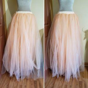 Peach Tulle Mesh Net Petticoat Maxi Skirt Fairy
